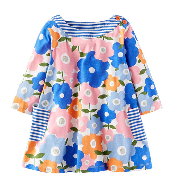 Autumn-Winter Floral Print Dress for Little Girls up to 7 years