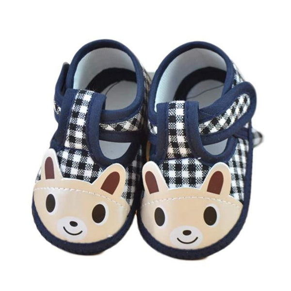 Soft Sole Checkered Crib Shoes with Cartoon Bunny for Little Boys and Girls