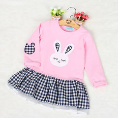 Bunny Cartoon Checkered Tutu Dress for Little Girls in Pink and Gray Colors