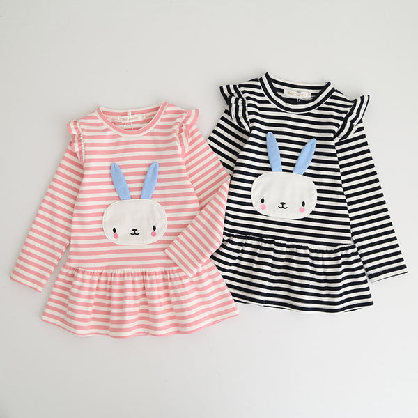 Cute Rabbit Striped Long Sleeve Dress for Little Girls in 2 Colors