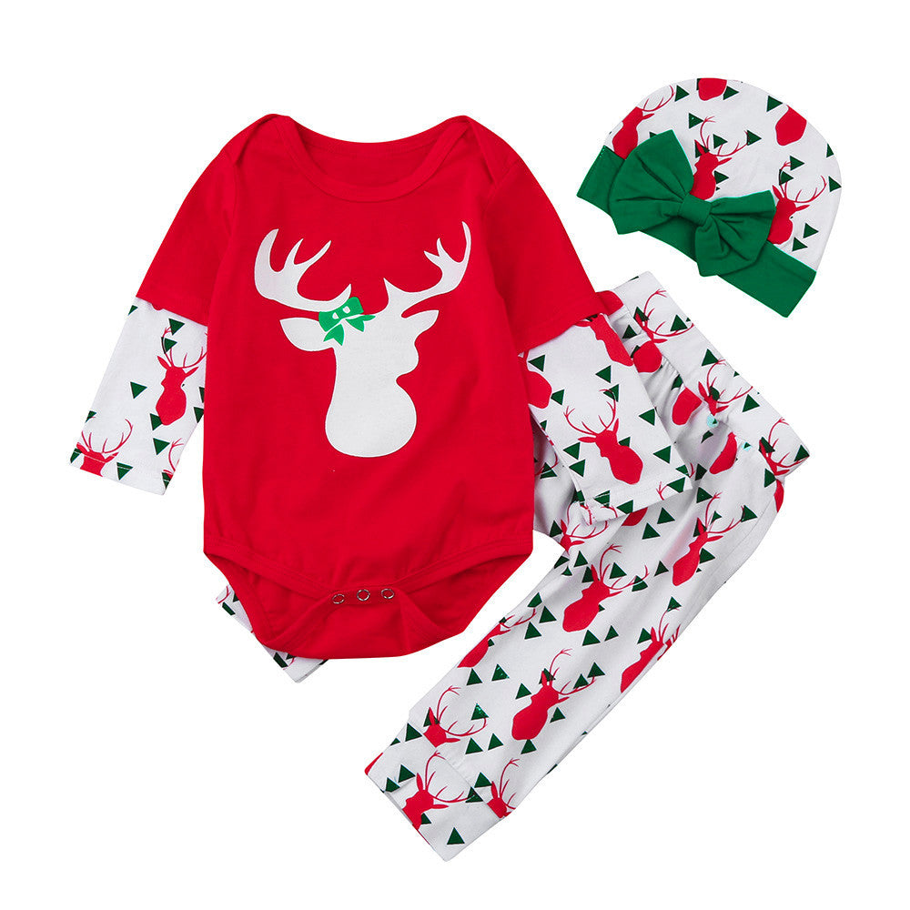 Reindeer Print 3pc Outfit Set