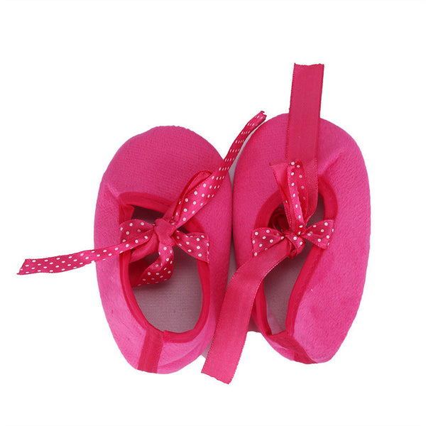 Hot Pink Soft Crib Shoes for Baby Girls