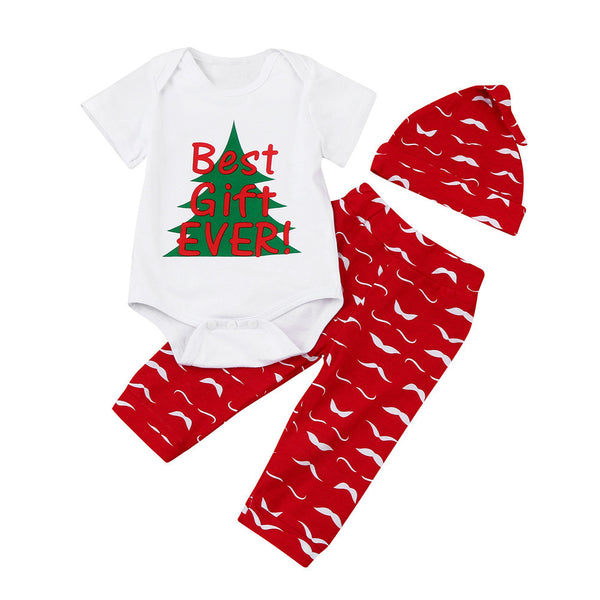 """Best Gift Ever"" 3pc Christmas Outfit Set"