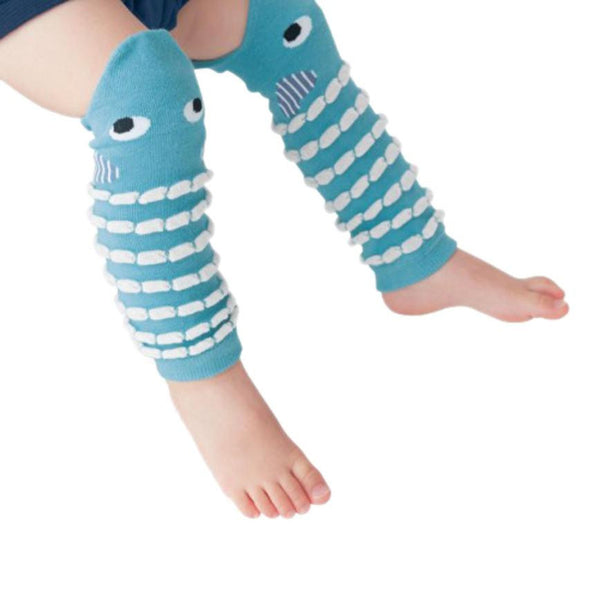 Blue Striped Fish shaped Cotton Leg Warmers for Babies (30cm)