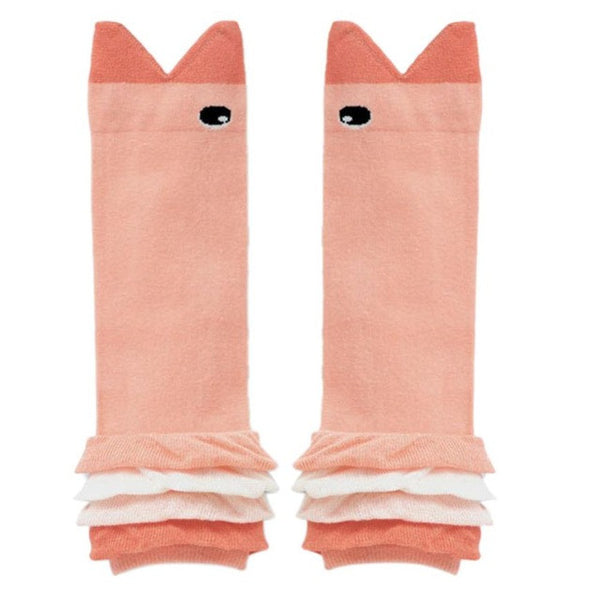 Pink Fish shaped Frilled Cotton Leg Warmers for Babies (30cm)