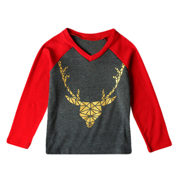 Reindeer Cartoon Baseball T-shirt (Red)
