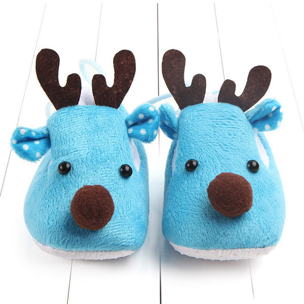 Reindeer-shaped Blue Baby Shoes