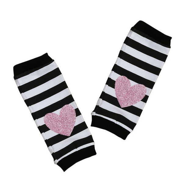 Striped Leg Warmers with a Pink Heart