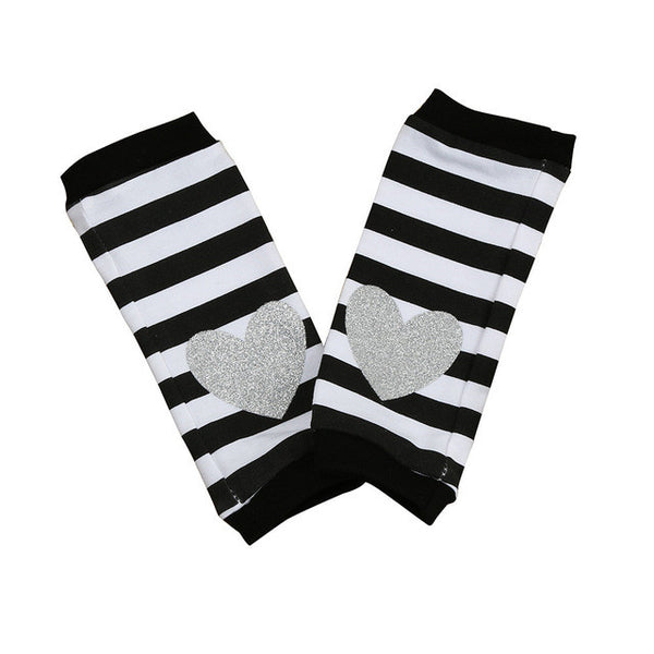 Striped Leg Warmers with a Silver Heart