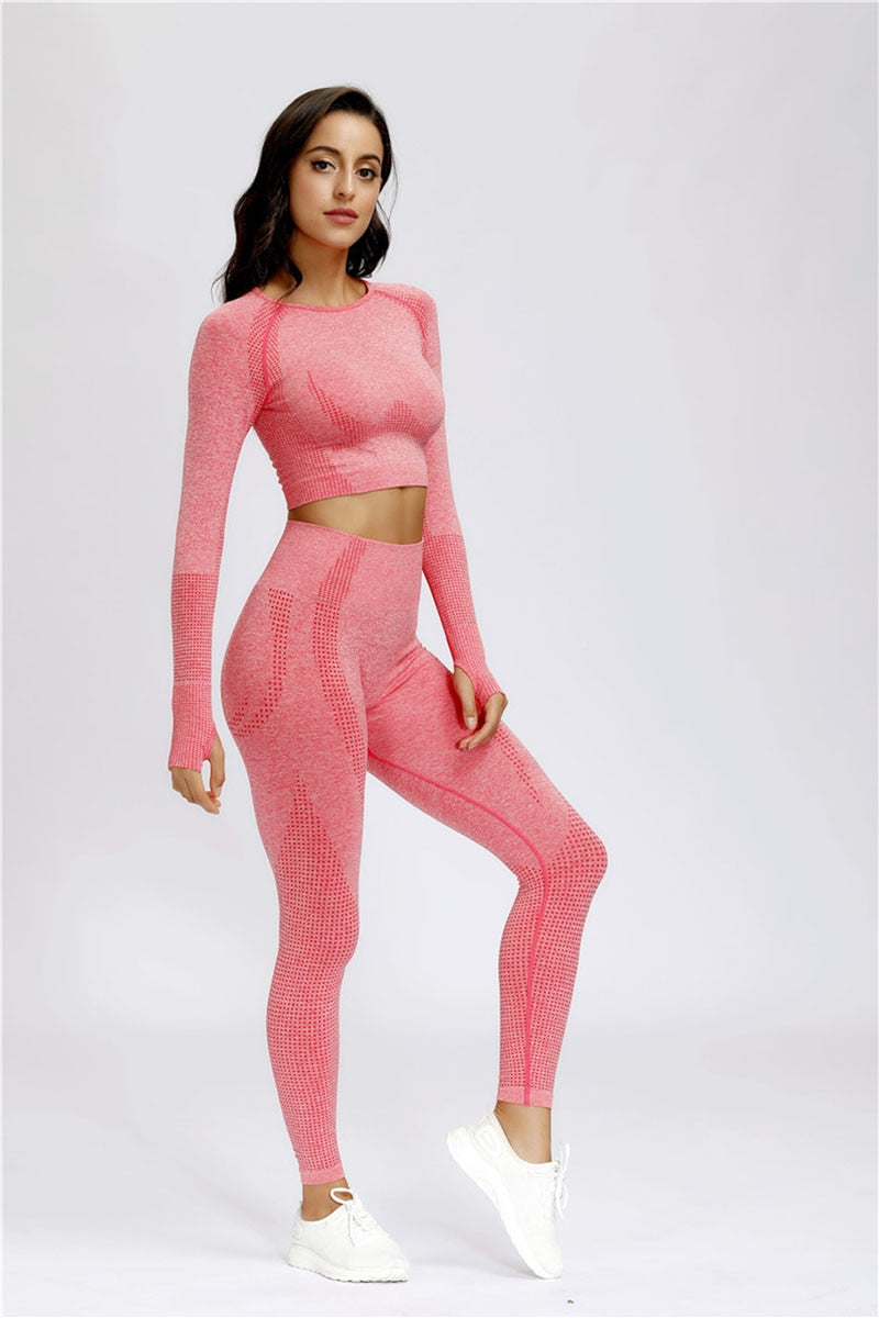 Women's Seamless Fitness Leggings and Cropped Shirt Set