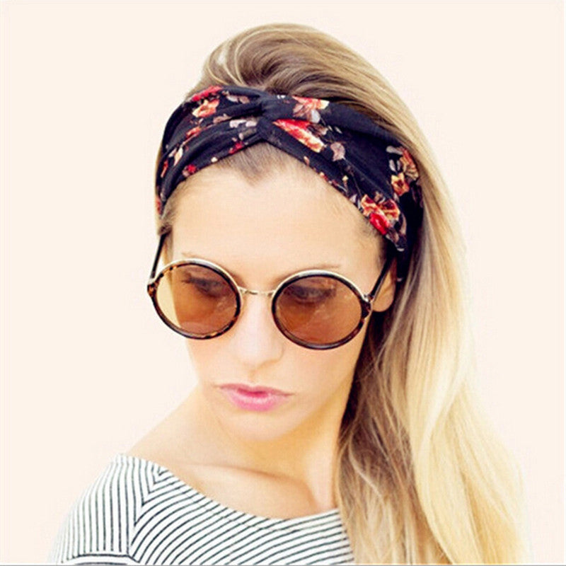 Retro Women Elastic Turban Twisted Knotted Floral Headband