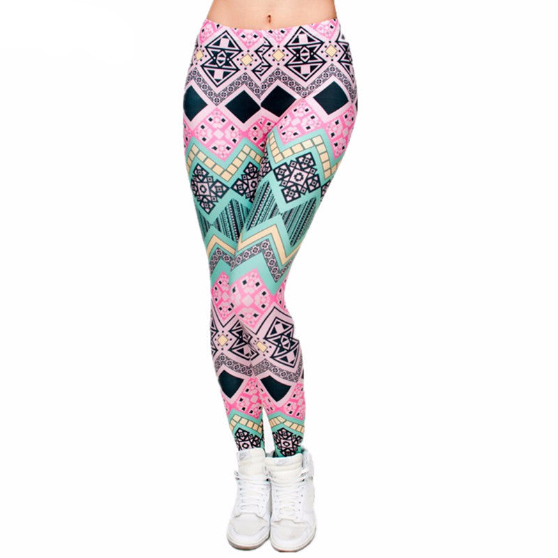 Women's Yoga Pants in Aztec Pink Print