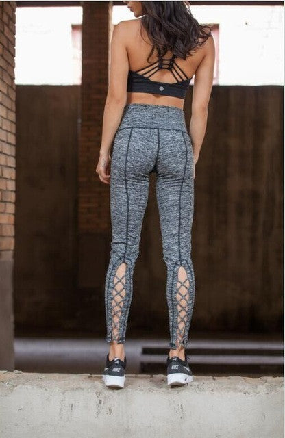 Yoga Pants Cross Leggings Cutout Tie Cuff Workout Tights