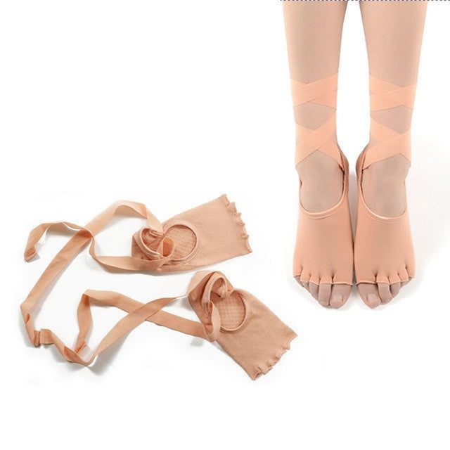 Yoga Socks Paired Dancing Anti-slip Five Toe Cotton Sock With Ribbon