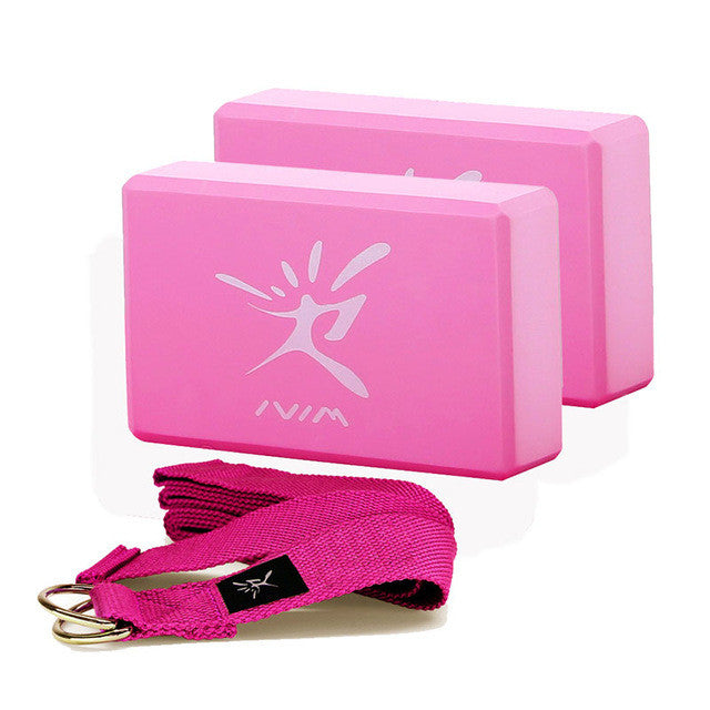 2 Piece Foam Yoga Block Set with Stretching Strap