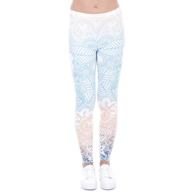 Pastel Blue Yoga Pants in Aztec Mandala Print