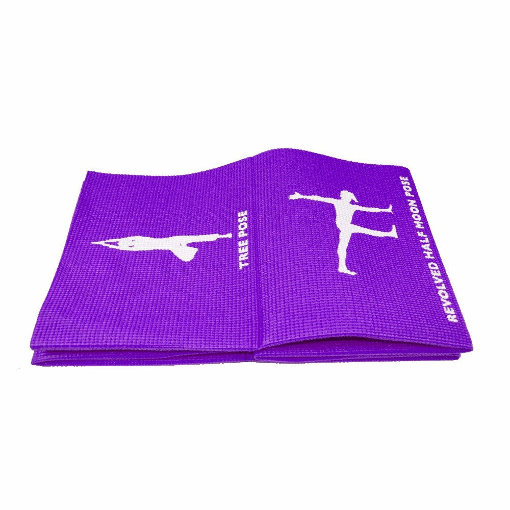 Travel Yoga Mat with Exercise Poses Non-slip Foldable Fitness Pad