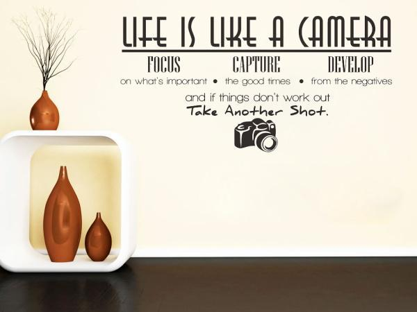 Life Is Like A Camera Quote Wall Sticker - Seven Mania