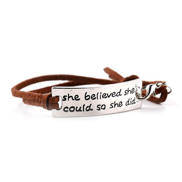 SHE BELIEVED SHE COULD SO SHE DID Inspirational Bracelet - Seven Mania