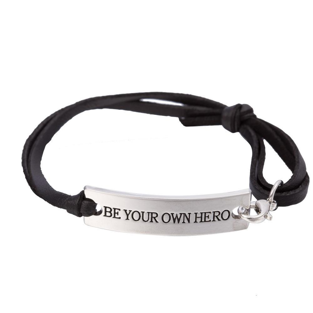 BE YOUR OWN HERO Charm Leather Bracelet - Seven Mania