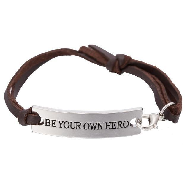 BE YOUR OWN HERO Charm Leather Bracelet