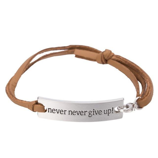 NEVER GIVE UP inspirational bracelet - Seven Mania