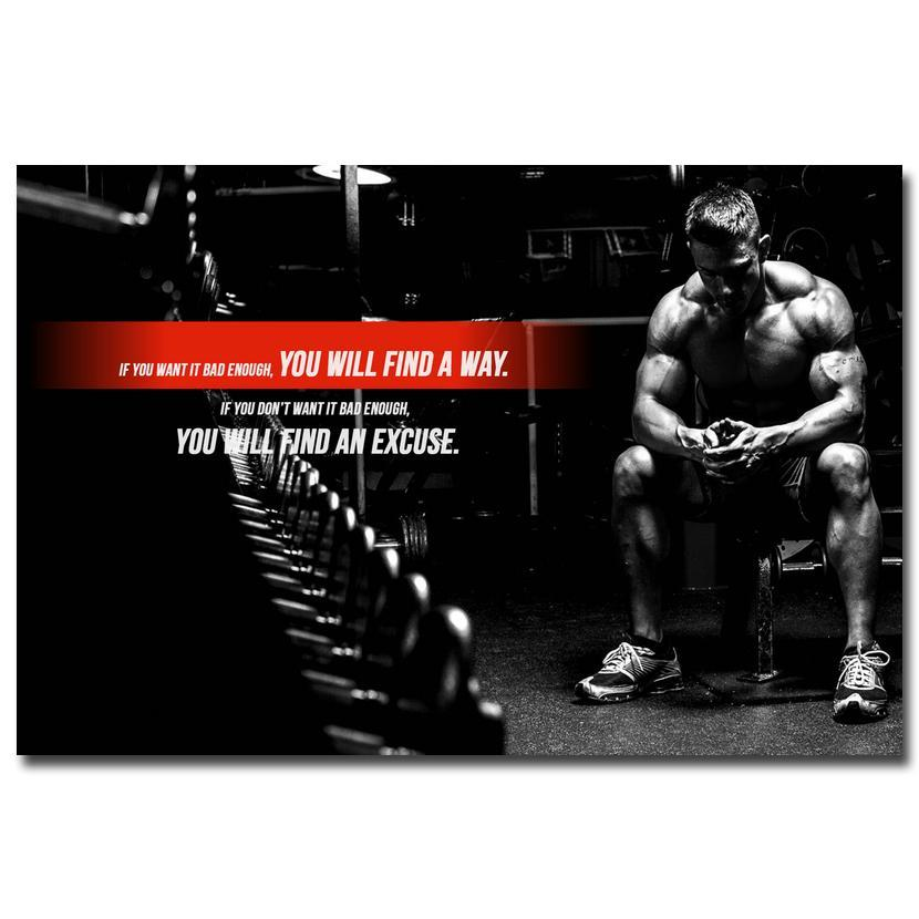 Bodybuilding Motivational Fitness Poster NO EXCUSES - Seven Mania