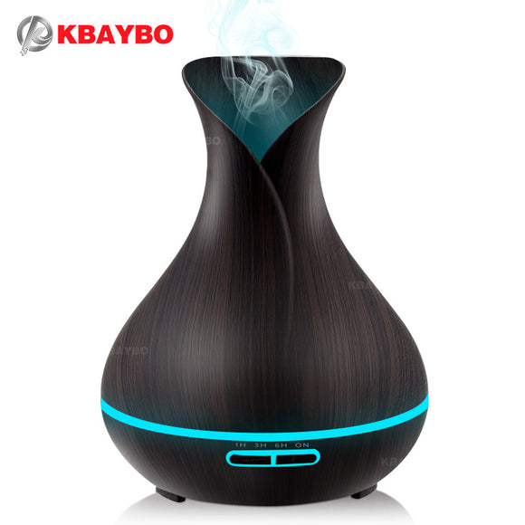 400ml Aroma Essential Oil Diffuser Ultrasonic Air Humidifier with Wood Grain 7 Color Changing LED Lights electric aroma diffuser - Electric Bicycle