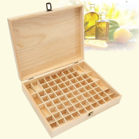 72 Holes Essential Oils Wooden Storage Box 5ml-15ml Bottles SPA YOGA Club Aromatherapy Natural Pine Wood Without Paint - Electric Bicycle