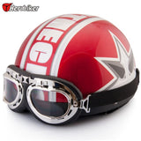 Vintage Open Face Half Motorcycle Safety Helmet & Goggles & Visor Motocross DOT Helmet - Electric Bicycle