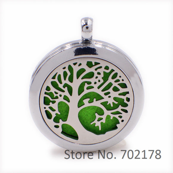 Tree of Life Steel+Alloy Perfume Essential Oil Aromatherapy Locket Diffuser with Magnetic Lock - Electric Bicycle