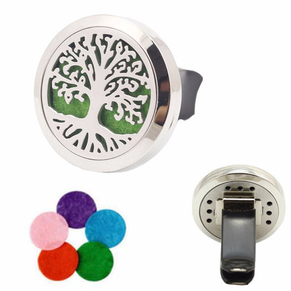 316L Stainless Steel Tree of Life Essential Oil Car Diffuser Locket Vent Clip with 10 Free Oil Pads - Electric Bicycle