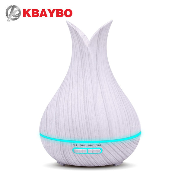 KBAYBO White Wood Grain 400ml Ultrasonic Essential Oil Aromatherapy Diffuser with LED Light Cool Mist - Choice of International Plug - Electric Bicycle