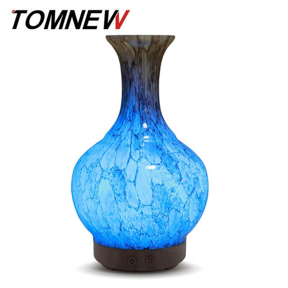 TOMNEW 100ml Glass Ultrasonic Essential Oil Aromatherapy Diffuser Cool Mist with LED Light. International Plug - Electric Bicycle