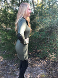 Olive with patch sleeve top