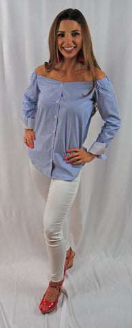 Blue Strips Off the Shoulder Top with White Cuffs