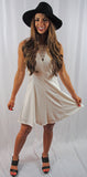 Classy & Sassy  White V front and Back Dress