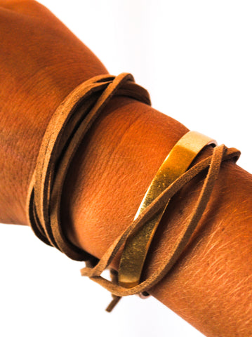 Wrap Around Suede with Gold Bar Bracelet