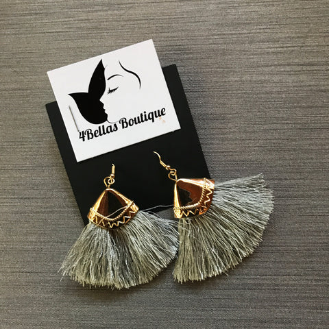 Feathered tassel earrings