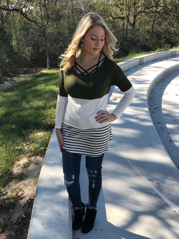 Olive me Happy Triple Layer Top