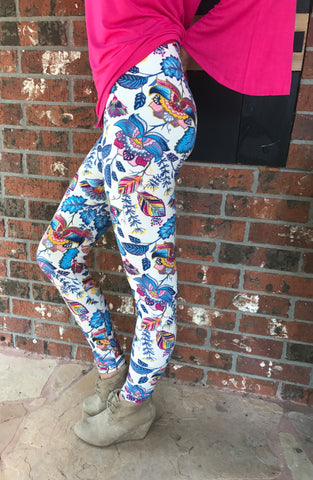 Floral Print Lined knit leggings with elastic waist