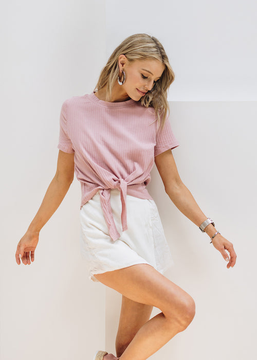 Rose Ribbed Knot Tie T-Shirt