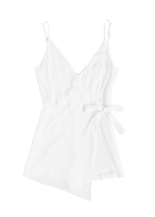 White Cotton Tie Playsuit