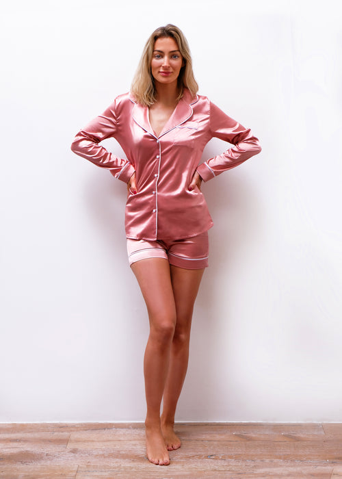 Dusky Rose Pink Silk Pyjama Short Set
