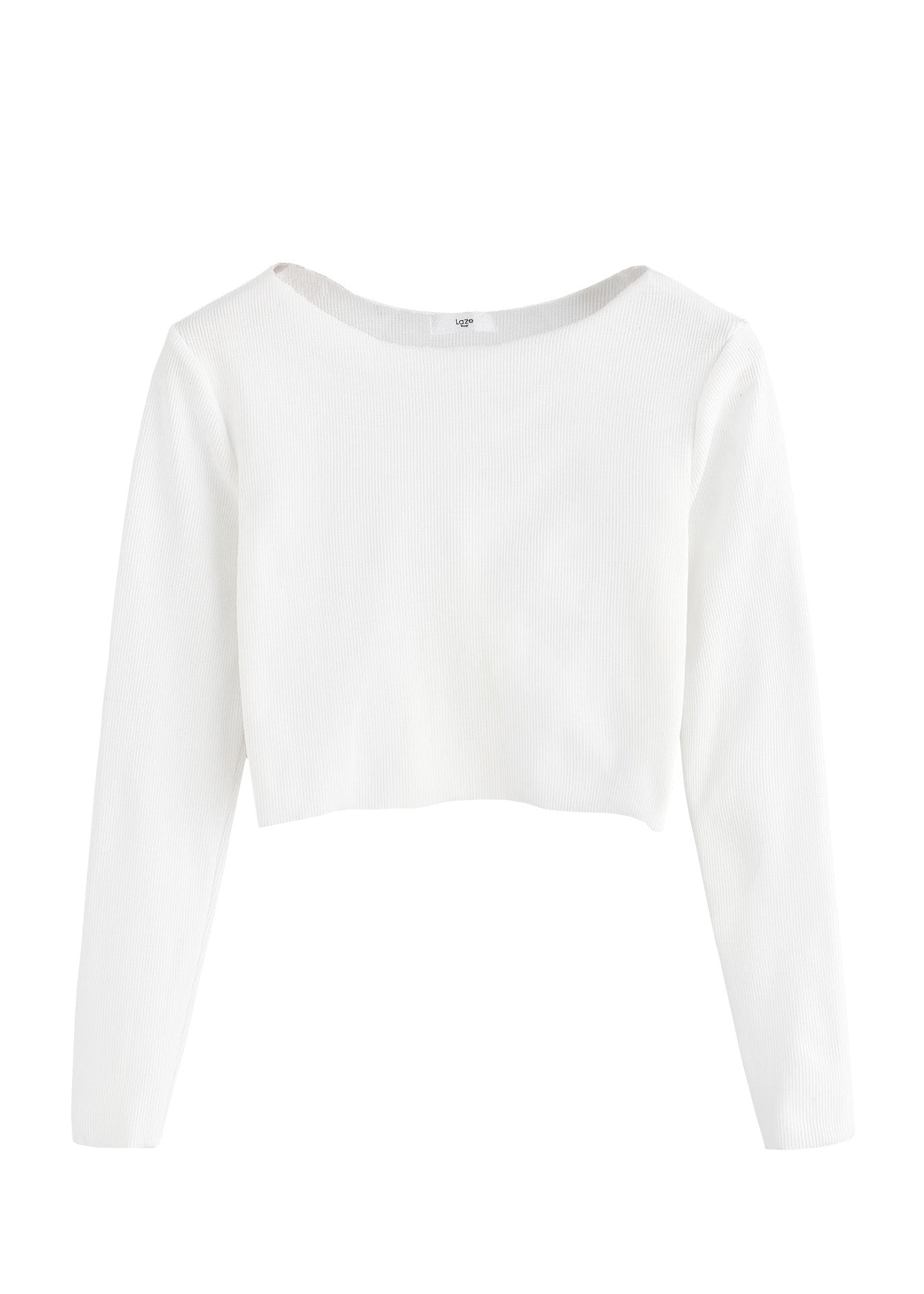White Ribbed Raw Edge Crop Top