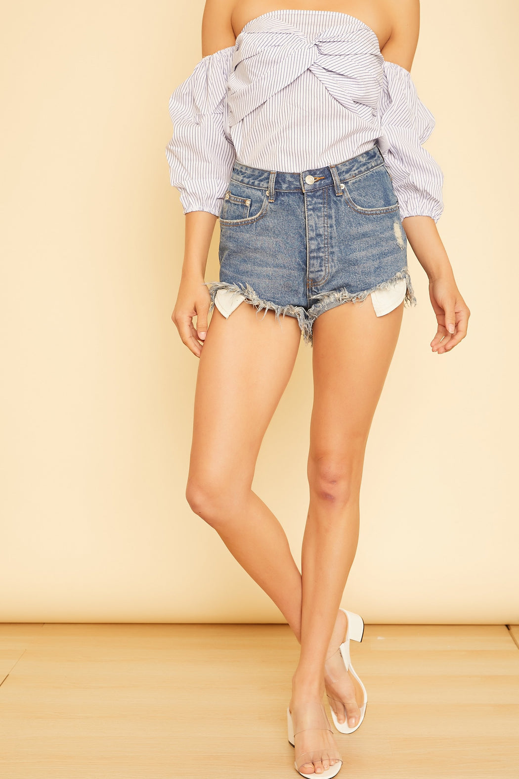 Sunset Blvd High Rise Denim Shorts