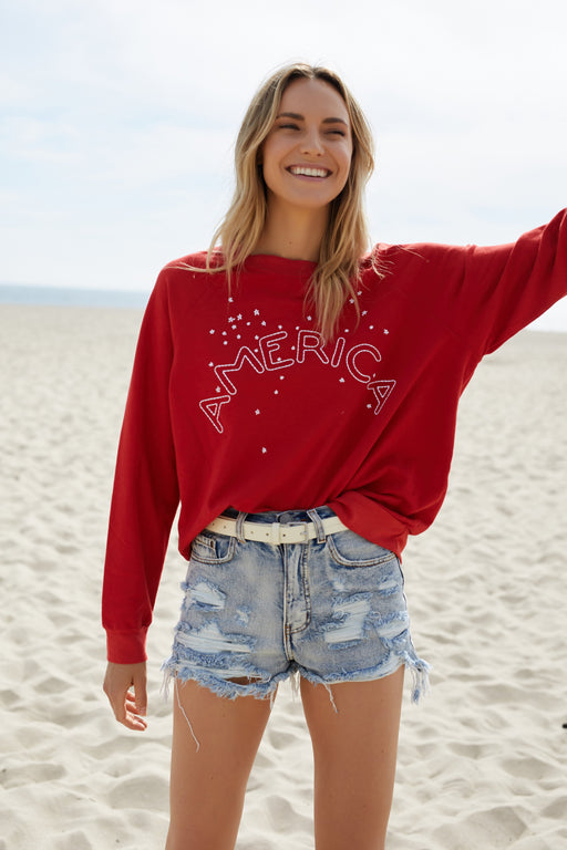 America Embroidered Sweatshirt - wearNYLA
