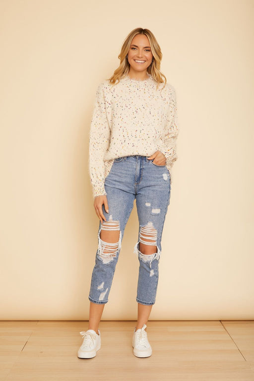 Ivory Confetti Sweater - wearNYLA