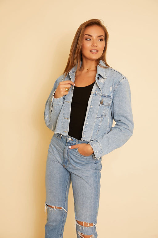 Jessie Cropped Denim Jacket - wearNYLA