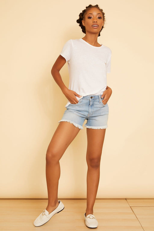 Keira Frayed Hem Denim Shorts - wearNYLA